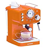 Oursson Máquina de Café Espresso - Cappuccino, Retro, 15 Bares, Vaporizador Orientable, Capacidad 1.25 l, Café Molido, EM1500 Serie (Naranja)