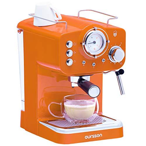 Oursson Kaffeemaschine, 15 Bar Espressomaschine, Espresso-Siebträgermaschine, Milchaufschäumer für Cappuccino und Latte, Orange, 1.5L Tank, EM1500/OR