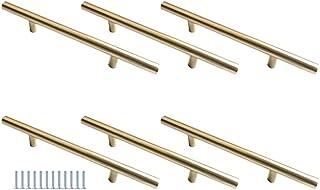 Hysstore 6 Pièces Poignées de Meubles 128 mm T Forme Poignée d'armoire Poignées de Tiroirs en Alliage d'aluminium pour Cui...