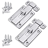 Ruisita 2 Pack Stainless Steel Door Latches Door Bolts Sliding Bolts Surface Mounted Slide Bolt for Indoor and Outdoor, 2 Inches