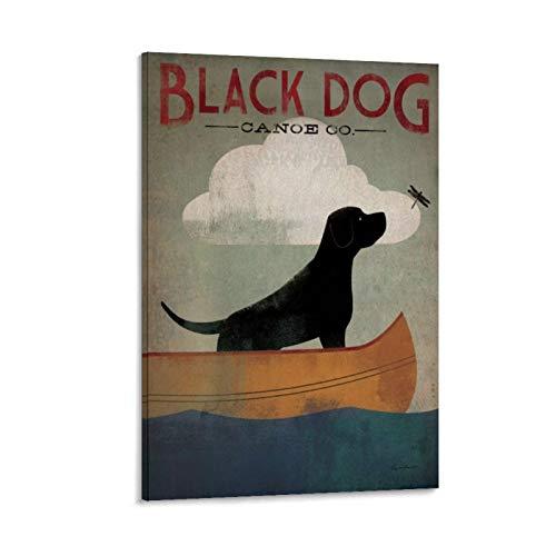 xiaochouyu Póster, diseño de perro labrador Retrievers – Black Dog Canoe Co. I Lienzo artístico y arte de pared, moderno póster de decoración de dormitorio familiar de 50 x 75 cm