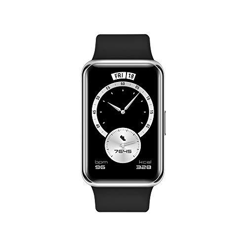 """HUAWEI Watch FIT Elegant Edition - Smartwatch con Cuerpo de Metal, Pantalla AMOLED de 1,64"""", hasta 10 días de batería, SpO2, 96 Modos de Entrenamiento, GPS Incorporado, 5ATM, Color Negro"""