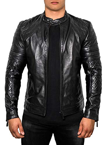 Crone Blackhawk Herren Slim Fit Biker Lederjacke, weichem Schafsleder (S, Limited Black Edition (Echtleder))