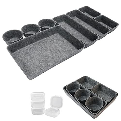 LOINFE 12 Stück Schreibtisch Schubladen Organizer, Büro Schubladen Organizer, waschbare Filz Aufbewahrungsbox für zu Hause, Schminktisch Make-up Organizer, Wohnzimmer Container für das Ordnungssystem