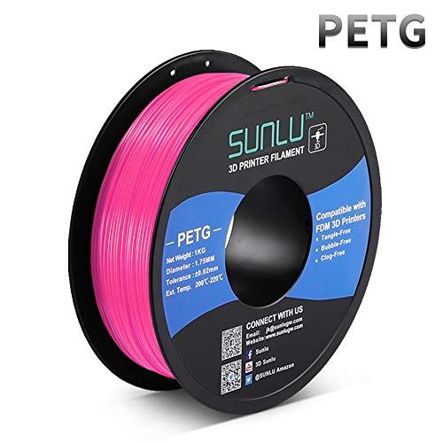 PETG Filament 1.75mm, Upgrade 1kg Roll (2.2lbs), PETG 3D Filament Dimensionsgenauigkeit +/- 0.02mm, for FDM 3D Printer and 3D Pen, Pink