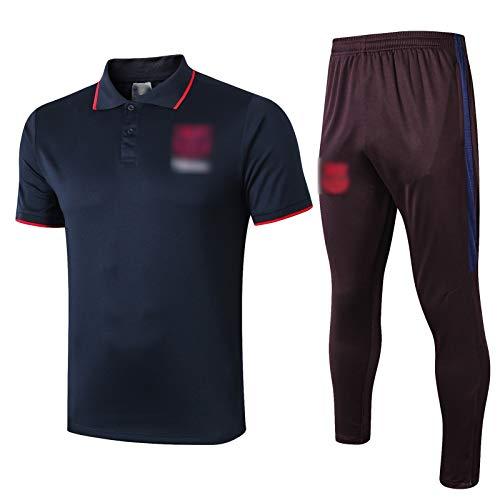 LXZ 19-20 Temporada Nueva Temporada Barcelona Traje de Entrenamiento de fútbol Rendimiento de Manga Corta Transpirable y de Secado rápido Polo Jersey (Camisa + Pantalone XXL