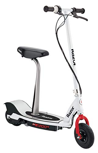"""Razor E200S Electric Scooter - 8"""" Air-filled Tires, 200-Watt Motor, Up to 12 mph and 40 min of Ride Time, White"""