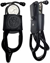 Stethoscope Holder pro with Clip,Handmade in USA Genuine Leather .Perfect for Physicians, Nurses, EMT, Medical Nursing Student. No More Neck Carrying, Work with Comfort (Black 1)