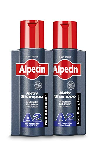 Alpecin Aktiv-Shampoo A2 - Shampoo gegen fettende Kopfhaut, reinigt und beugt vor - 2 x 250 ml