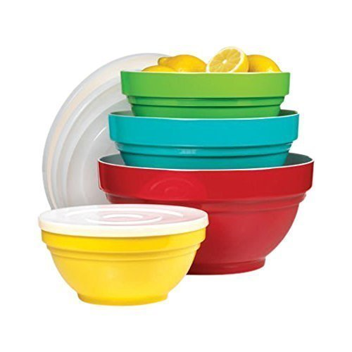 4 Piece melamine bowl set with lids. Non slip base. Made from 100% pure melamine heavy weight for high quality. by HDIUK