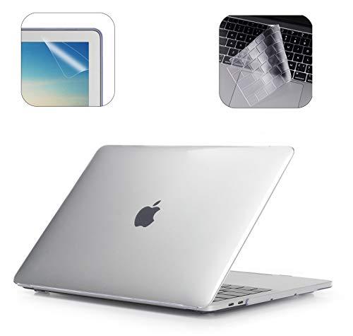 i-Buy Gummierte Harte Schutzhülle Hülle Kompatibel für 2019 2018 MacBook Air 13 Zoll mit Retina Display & Touch ID (Modell A1932) + TPU Tastaturschutz + Schutzfolie - Klar