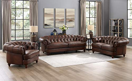 Hydeline Newport 100% Leather Set, Sofa, Loveseat and Chair, Brown