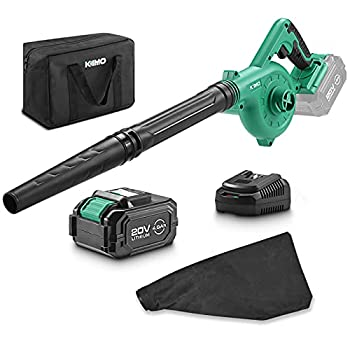 KIMO 20V Cordless Leaf Blower 2-in-1 Battery Powered Sweep/Vacuum w/ 4.0Ah Ah Lithium-ion Battery&Charger 150MPH Variable Speed Carrying Bag for Blowing Leaf/Snow/Dust/PC Vacuuming Yard/Patio