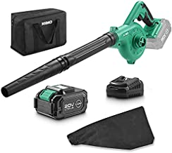 KIMO 20V Cordless Leaf Blower, 2-in-1 Battery Powered Sweep/Vacuum, w/ 4.0Ah Ah Lithium-ion Battery&Charger, 150MPH, Variable Speed, Carrying Bag for Blowing Leaf/Snow/Dust/PC, Vacuuming Yard/Patio