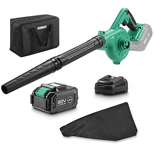 KIMO 20V Cordless Leaf Blower, 2-in-1 Battery Powered Sweep/Vacuum, w/ 4.0Ah Ah Lithium-ion...