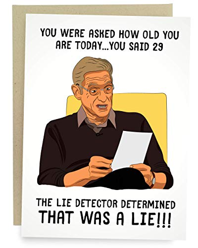 Sleazy Greetings Funny 30th Birthday Card Maury Lie Detector Test Joke Meme For Him Or Her   Maury Lie Detector Test Card