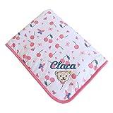 Steiff Babydecke mit Wunsch-Name bestickt weiß mit Kirsche und Schmetterlingen 95 cm x 65 cm personalisierte Jerseydecke Namensdecke bright white für Mädchen