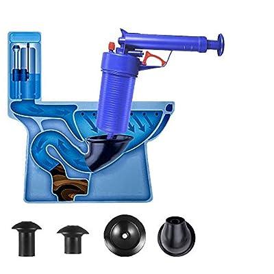 Air Power Drain Blaster Gun,Toilet Plunger,High Pressure Powerful Manual Sink Plunger Opener Cleaner Pump,Suitable for Bath Toilets,Bathroom,Shower,Kitchen Clogged Pipe Bathtub(Blue) …