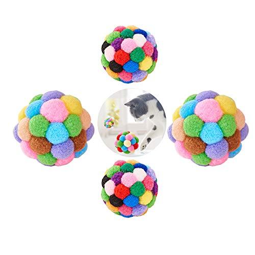 4 Piezas Gatos Juguetes Bolas, Pet Chew Bola de Mascar, Juguete del Ejercicio del Gato de la Bola Colorida de la Felpa, Pelotas de Juguete Blando Bolas de Pompon para Gato, para Jugando a Masticar