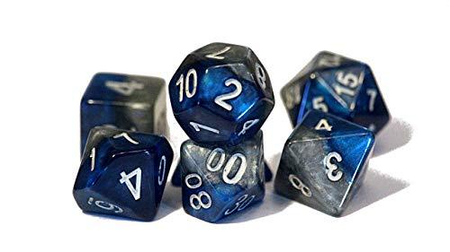 The Heir Halfsies Dice - 7 Die Polyhedral RPG Gaming Dice Set - Power Teal & Castle Stone
