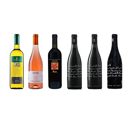Box Degustazione Vini Toscana - Bianco Rosato e 4 Rossi - 6 Bottiglie 0,75 L - Idea Regalo