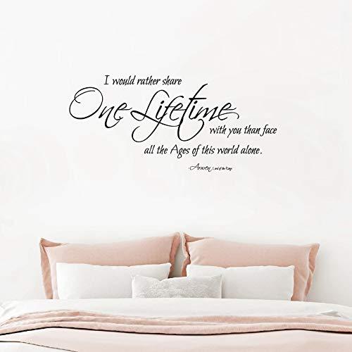 fancjj One Lifetime Arwen Quotes Vinilos Decorativos Vinilo Romántico para los recién Casados Aniversarios Parejas Dormitorio Decoración 56X26CM