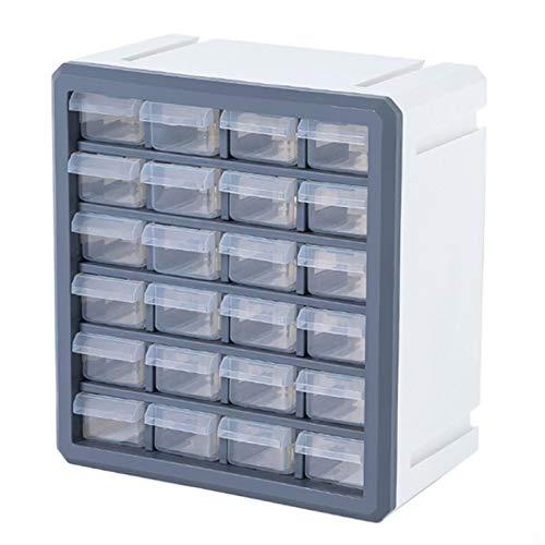 HTQZW Rompecabezas/plástico Building Blocks Juguetes/Organizador de cajones - Accesorios de Almacenamiento Compatible for los Bloques de Lego (Color : 24 Grid Gray White)