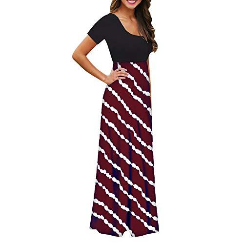 Banbry Sommerkleid Damen Lang Maxikleider Strandkleid Elegant Partykleid High Waist Striped/Tie Dye Druck Kurzarm Beach Kleid Maxikleid Rundhals Freizeitkleider mit Taschen