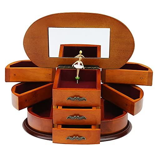 zhyx - Joyero, caja de joyería de madera maciza, caja de joyería antigua de estilo europeo multicapa de gran capacidad.