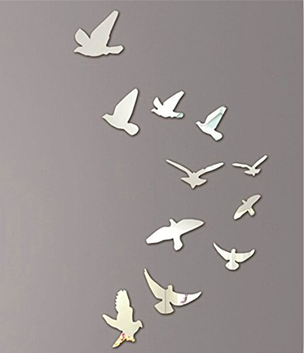 Harpily 11Pcs 3D DIY Wall Stickers Lovely Birds Silver Mirror Decoration Home Room Art for Home