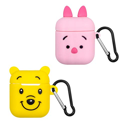Finex 2 pcs Set Winnie The Pooh and Piglet Silicone Airpods Protective Case Cover with Carabiner Keychain Ring Compatible with Apple Air Pods