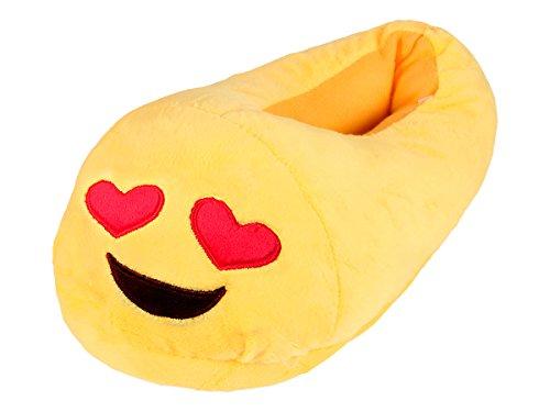 Alsino Emoji Kuschel Hausschuhe Emoticon Plüsch Smiley Schuhe Puschen rutschfest, Variante wählen:Verliebt;Größe wählen:32-34
