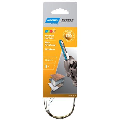 Norton Expert - Lote de bandas abrasivas para lijadora de cinta (4 unidades, 13 x 454, grano 120)