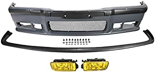 Front Bumper Cover Lip M3 Style For 92-98 BMW 3 Series E36 Yellow Fog Lights 92 93 94 95 96 97 98 1998 1997 1996 1995 1994 1993 1992 318is 323is 325i 325is 328i 328is