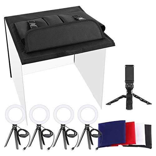 Neewer Photo Studio Box, 24x24inches Table Top Photo Light Box Continuous Lighting Kit with 5 Tripod Stands 4 LED Ring Lights, 4 Color Backdrops and a Phone Holder for Product Jewelry Food Photography