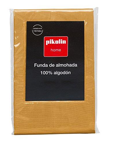 Pikolin Home - Almohadón, funda de almohada, 100% algodón, almohadas de 70, 75 y 80cm, color naranja (Todas las medidas)