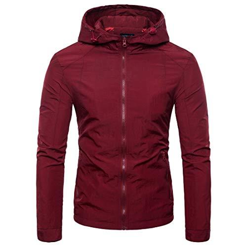 Herren Pure Farbe Reißverschluss Kapuzenjacke Mantel(XL,rot)