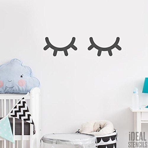 Sleepy Augen Kinderzimmer Schablone | 1 Auge Schablone inklusive | Farbe Kinderzimmer Wanddekoration | Muster Schablone für Wände, Stoffe, Möbel | Wiederverwendbar
