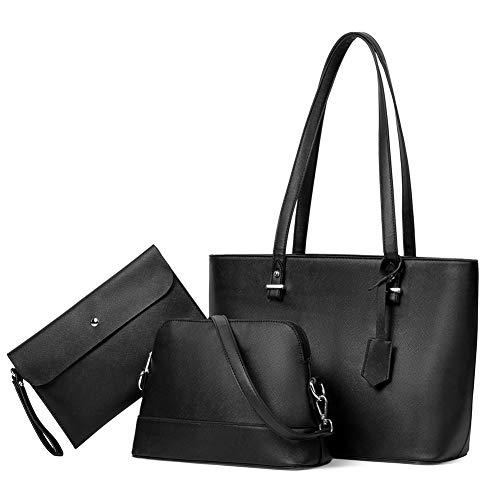 BROMEN Handtasche Damen Shopper Groß Schultertasche Umhängetasche Damen Tasche Tote 3 Set Leder Handtasche Geschenk für Frauen, Schwarz