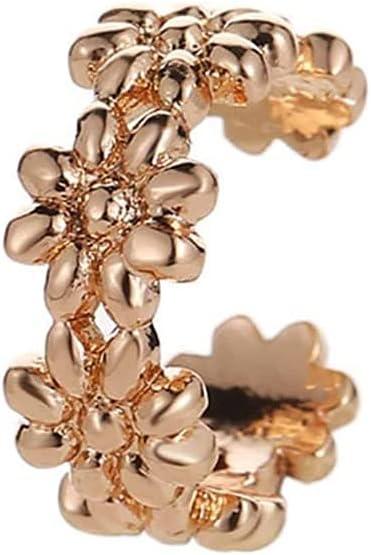 ZHCHL Hoop Earrings Flower Shaped Metal Ear Cuff 1pc (Color : Gold)