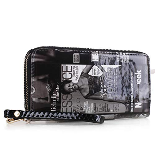 Deluxity Glossy Magazine Cover Lightweight Obama Long Zip Wallet Wristlet | Black & White