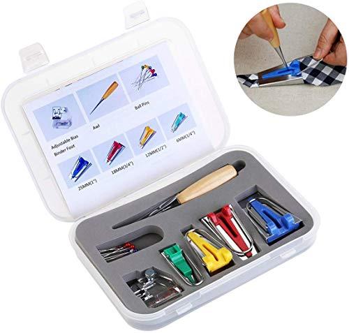 Aestm Schrägbandformer SetBinding Fuß Ahle Pin Set Quilt Nähen, Fabric Bias Tape Maker Werkzeug zum Nähen Quilten mit Nähfuß, Quiltenahle, Ball Pins