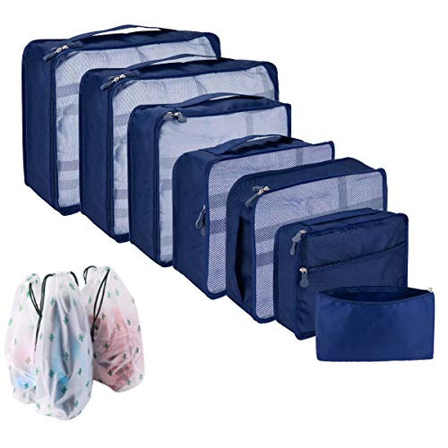 Packing Cubes for Suitcase, 10 Pcs Suitcase Organiser Bags, High Quality Suitcase Travel Organiser, Hand Luggage Packing Cubes Value Set for Travel (10 pcs, Dark Blue)