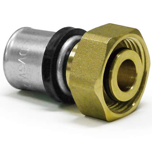Pipetec Pressfitting Verschraubung /Übergang 16x2 mm 3//4 Zoll Innengewinde Eurokonus Hahnblock Heizk/örper Anschlu/ß TH Kontur Verbundrohr TH-Profil DVGW
