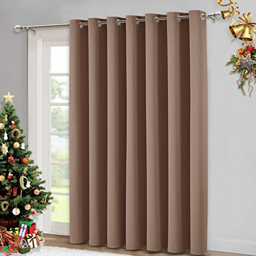 NICETOWN Blackout Blinds for Patio Door - Sliding Door Insulated Blackout Curtains, Extra Wide Curtain for Villa/Hall/Parlor (100 inches W x 84 inches L, Cappuccino)