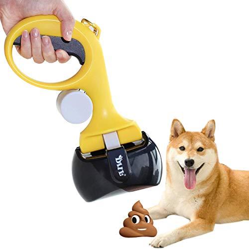 AECCN Paletta per Escrementi di Animali con Manico e Pinza, Portatile Scoop di Poop Dog con Busta Della Spazzatura per Pulire e Raccogliere i Rifiuti (Giallo)