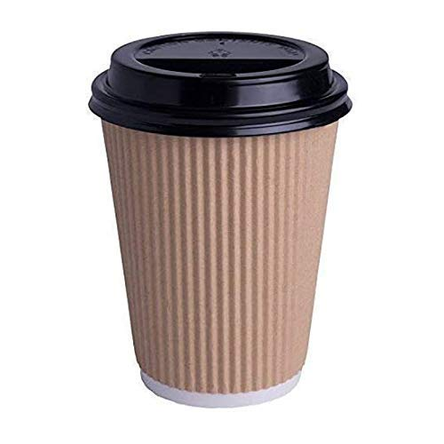We Can Source It Ltd - 12oz. Brown Kraft Ripple Paper Cups with Lids - Recyclable - Great for Tea, Coffee, Hot Drinks Takeaway - 300 Pack