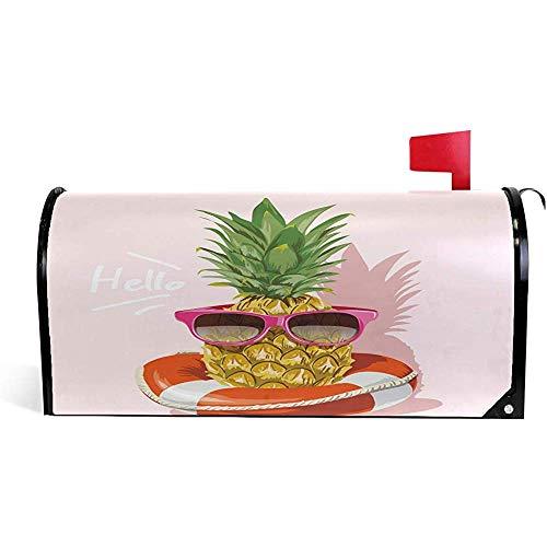 Hallo Willkommen Ananas Sonnenbrille Rettungsboje Rosa Sommer Mailbox Abdeckungen Magnetbox Wraps 21 'x 18'