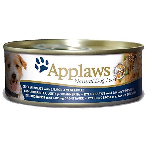 Applaws hondenvoeding in blikjes, Kip met zalm/groenten en rijst, 12 x 156g, kip, zalm en groenten.