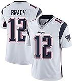 PPOI Jerseys -Tom Brady No. 12 Nouvelle Angleterre Patriots Jersey de Rugby américain, Tissu brodé, Fans brodés Version Fan Jerseys (Color : White, Size : L)